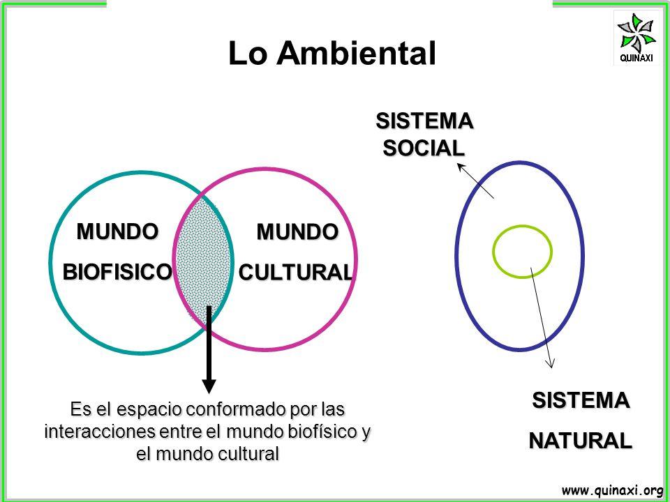 Lo Ambiental SISTEMA SOCIAL MUNDO BIOFISICO CULTURAL SISTEMA NATURAL