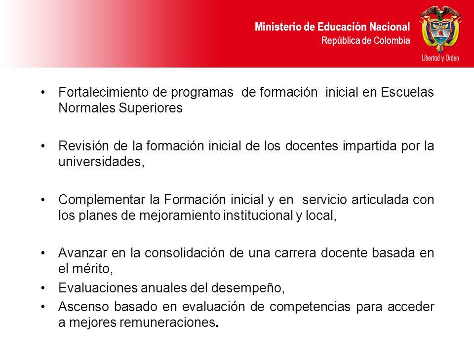 Fortalecimiento de programas de formación inicial en Escuelas Normales Superiores
