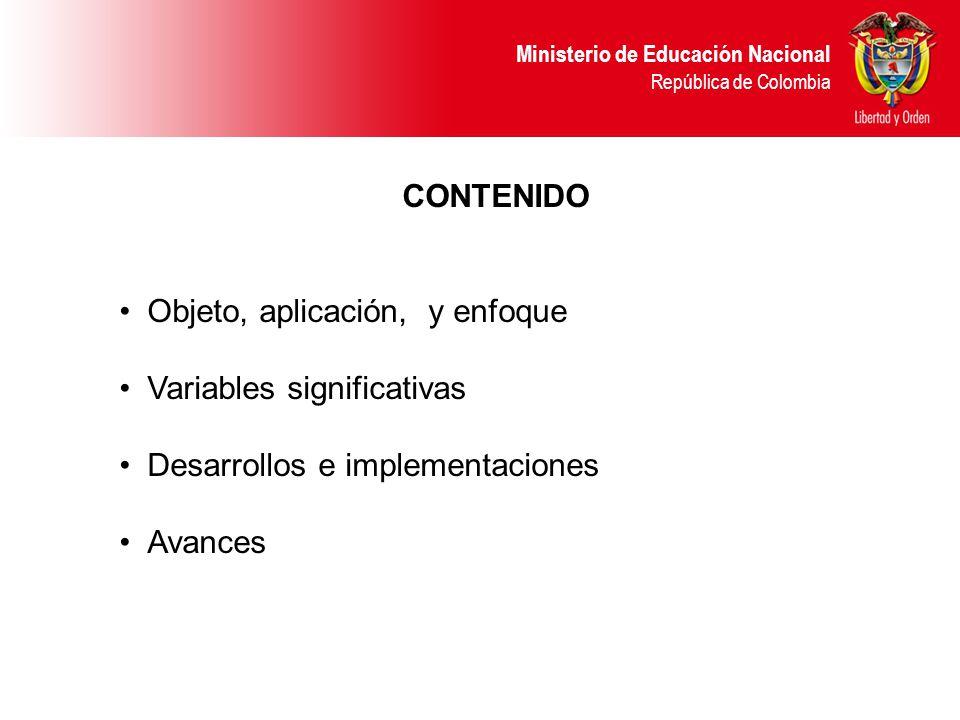 CONTENIDO Objeto, aplicación, y enfoque. Variables significativas. Desarrollos e implementaciones.