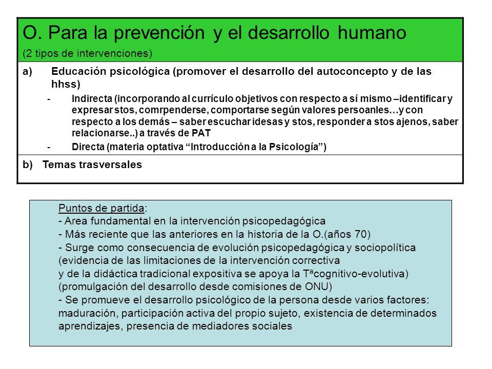 O. Para la prevención y el desarrollo humano