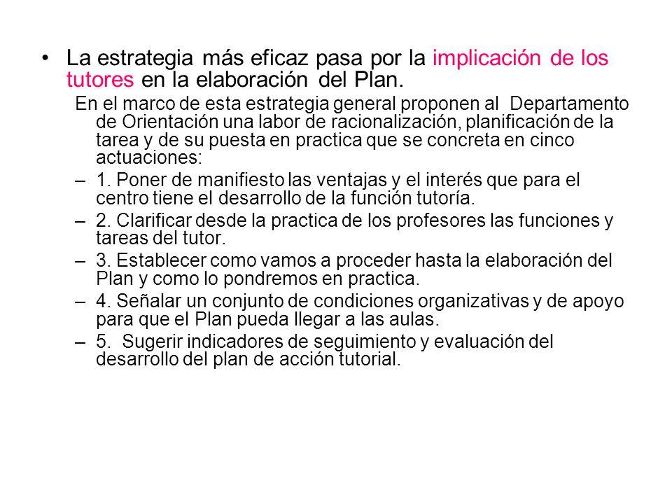 La estrategia más eficaz pasa por la implicación de los tutores en la elaboración del Plan.