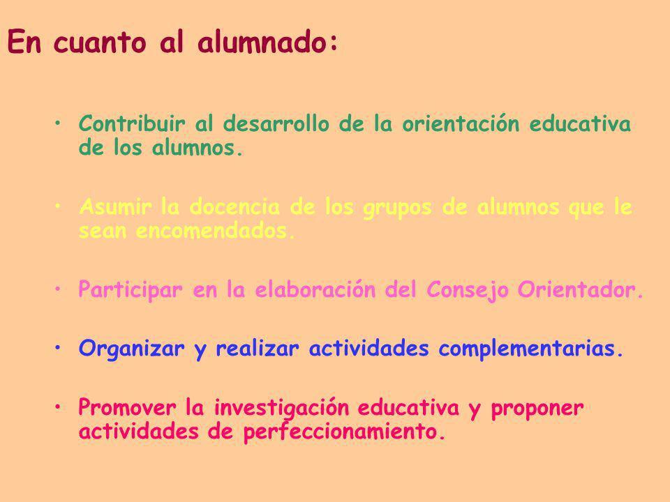 En cuanto al alumnado: Contribuir al desarrollo de la orientación educativa de los alumnos.
