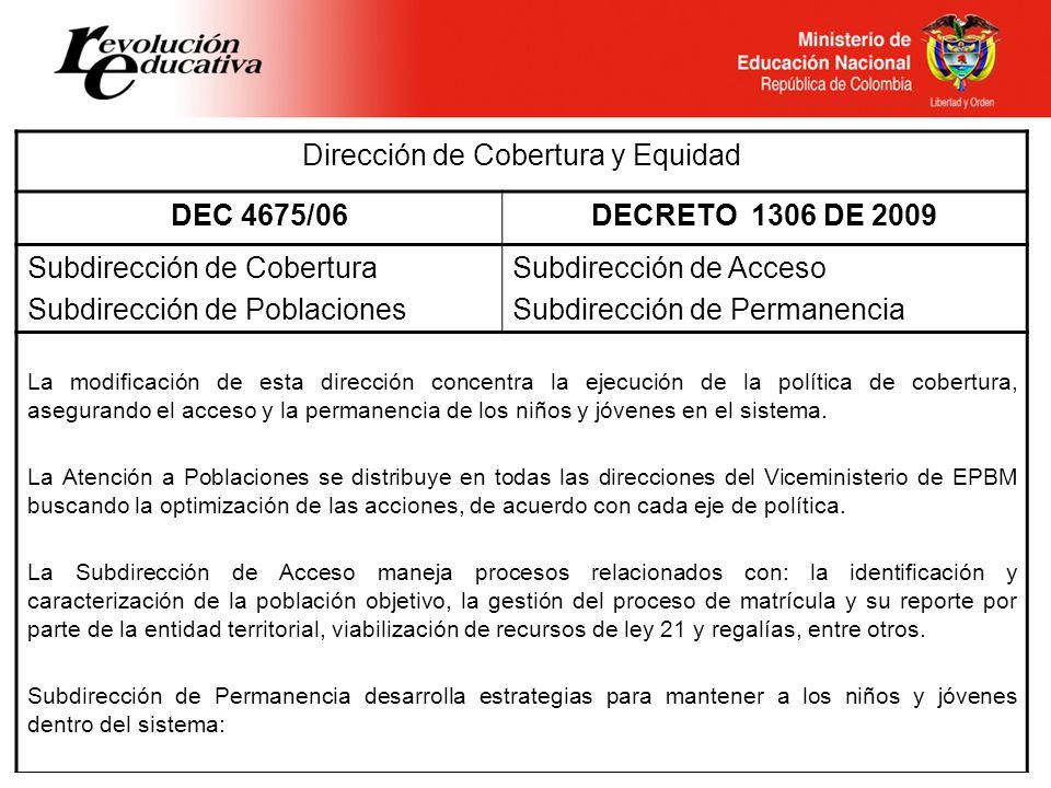 Dirección de Cobertura y Equidad