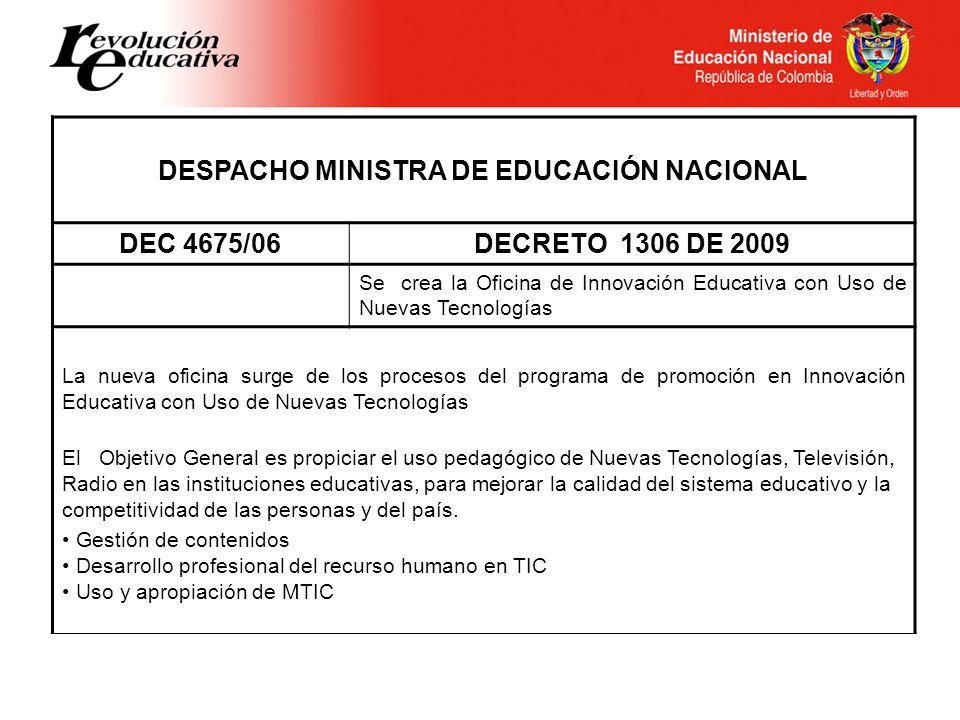 DESPACHO MINISTRA DE EDUCACIÓN NACIONAL
