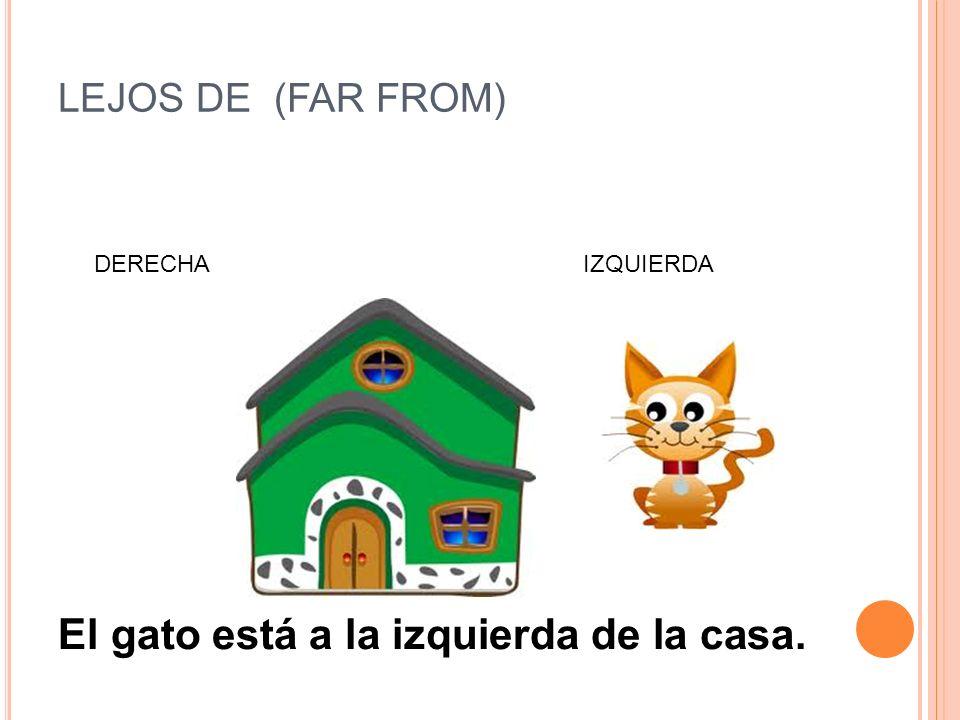 El gato está a la izquierda de la casa.
