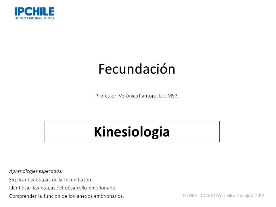 Fecundación Kinesiologia Professor: Verónica Pantoja . Lic. MSP.