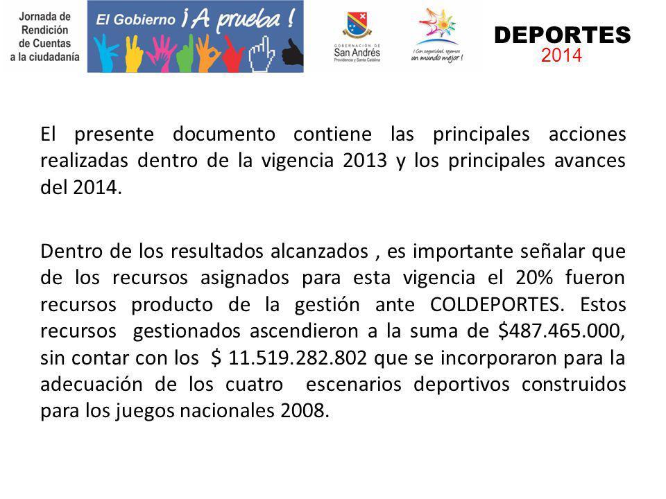 DEPORTES 2014. El presente documento contiene las principales acciones realizadas dentro de la vigencia 2013 y los principales avances del 2014.
