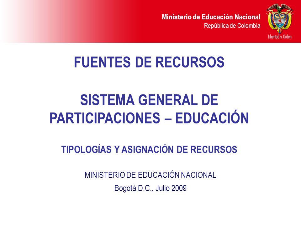FUENTES DE RECURSOS SISTEMA GENERAL DE PARTICIPACIONES – EDUCACIÓN