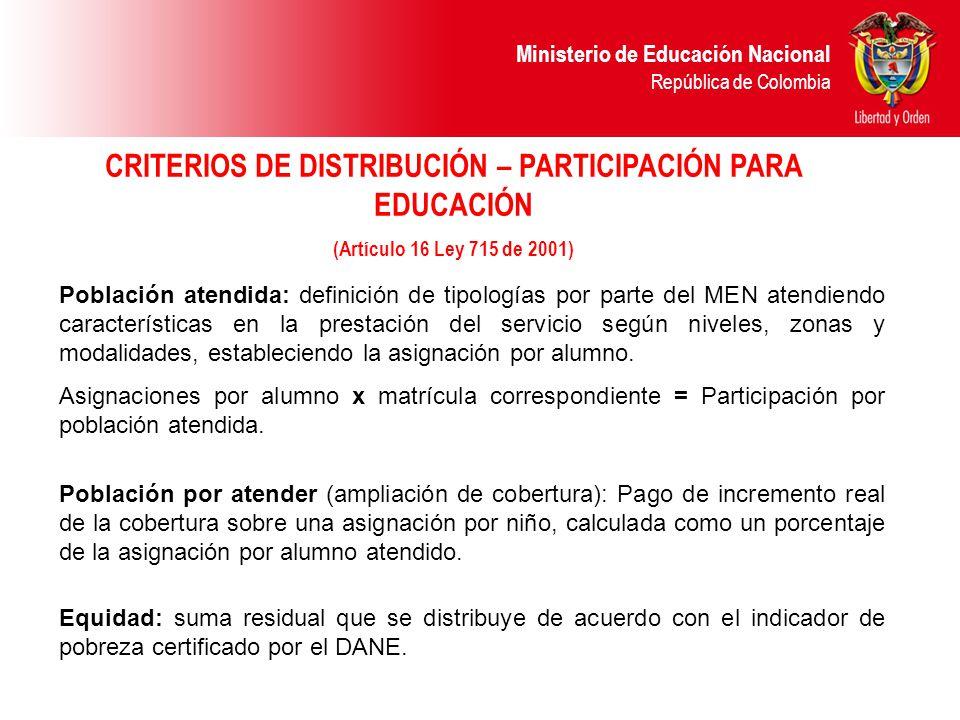 CRITERIOS DE DISTRIBUCIÓN – PARTICIPACIÓN PARA EDUCACIÓN