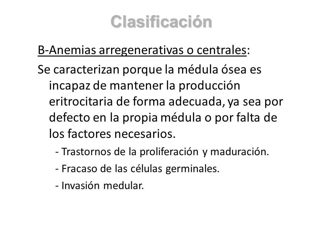 Clasificación B-Anemias arregenerativas o centrales: