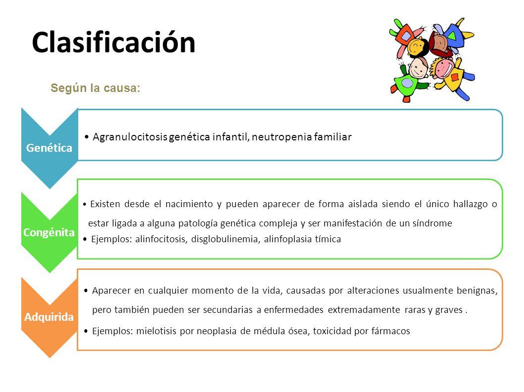 Clasificación Agranulocitosis genética infantil, neutropenia familiar