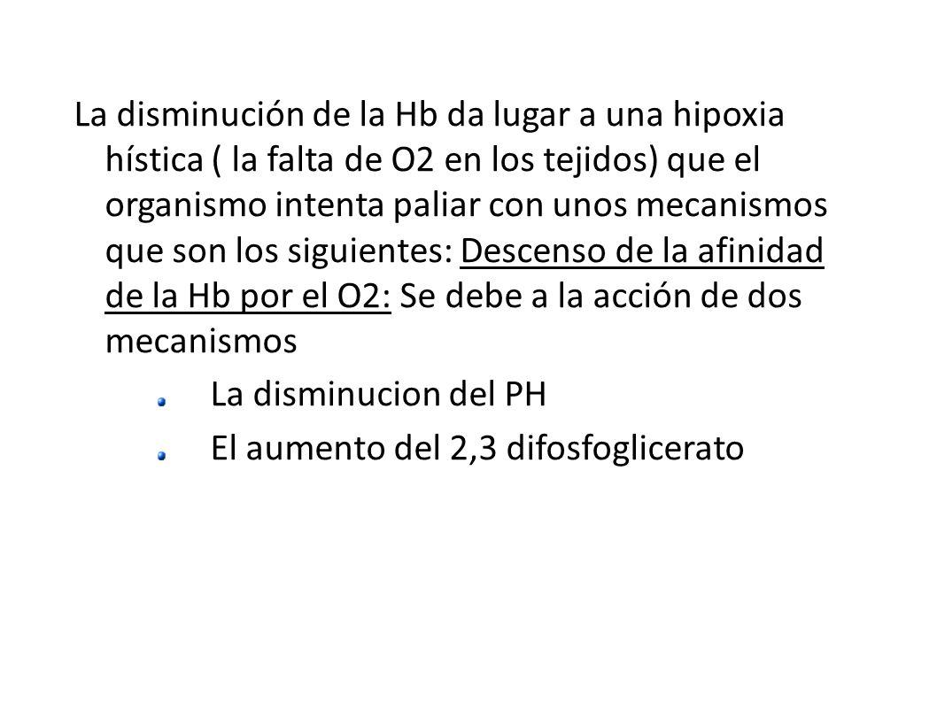 La disminución de la Hb da lugar a una hipoxia hística ( la falta de O2 en los tejidos) que el organismo intenta paliar con unos mecanismos que son los siguientes: Descenso de la afinidad de la Hb por el O2: Se debe a la acción de dos mecanismos