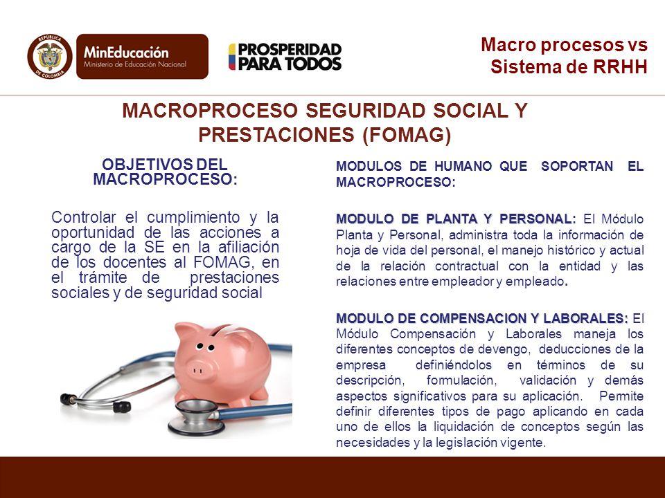 MACROPROCESO SEGURIDAD SOCIAL Y PRESTACIONES (FOMAG)