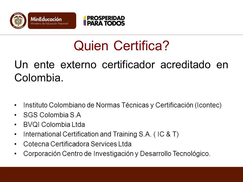 Quien Certifica Un ente externo certificador acreditado en Colombia.