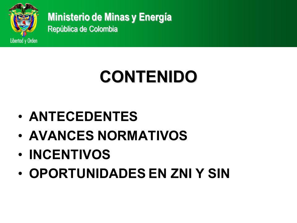 CONTENIDO ANTECEDENTES AVANCES NORMATIVOS INCENTIVOS