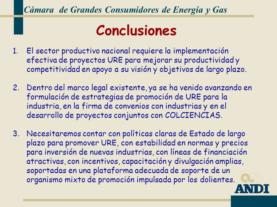 Conclusiones Cámara de Grandes Consumidores de Energía y Gas