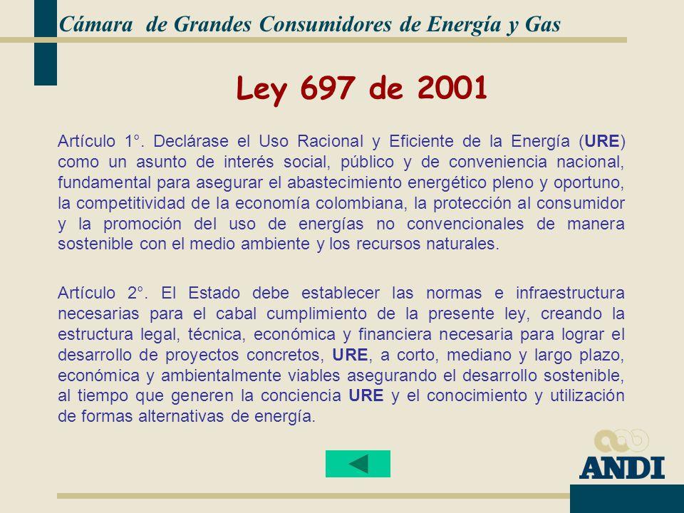 Ley 697 de 2001 Cámara de Grandes Consumidores de Energía y Gas