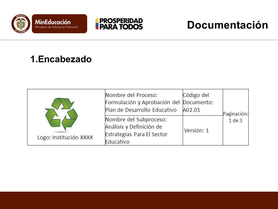 Documentación 1.Encabezado Logo: Institución XXXX