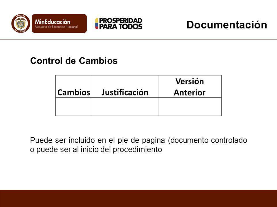 Documentación Control de Cambios Cambios Justificación