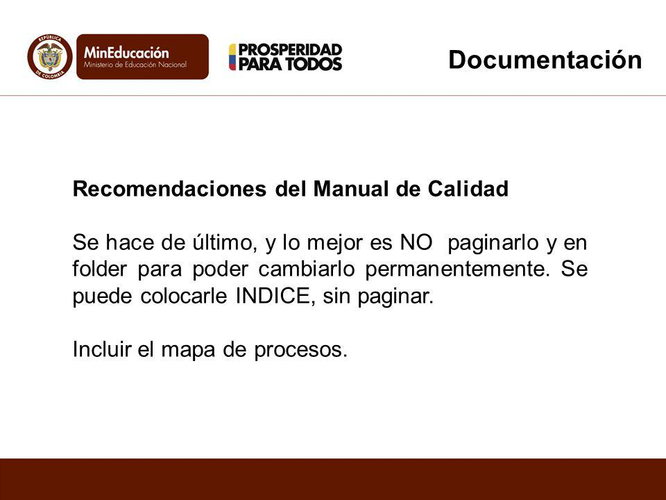 Documentación Recomendaciones del Manual de Calidad