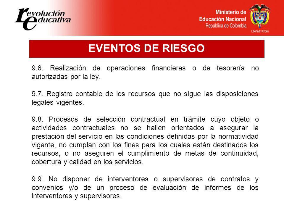 EVENTOS DE RIESGO 9.6. Realización de operaciones financieras o de tesorería no autorizadas por la ley.