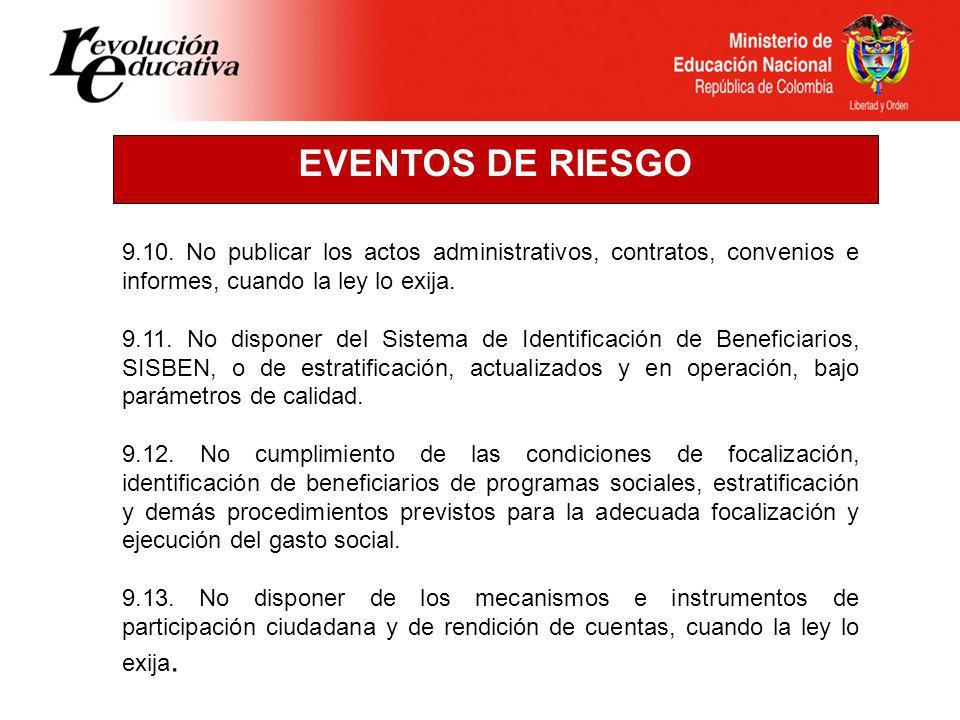 EVENTOS DE RIESGO 9.10. No publicar los actos administrativos, contratos, convenios e informes, cuando la ley lo exija.