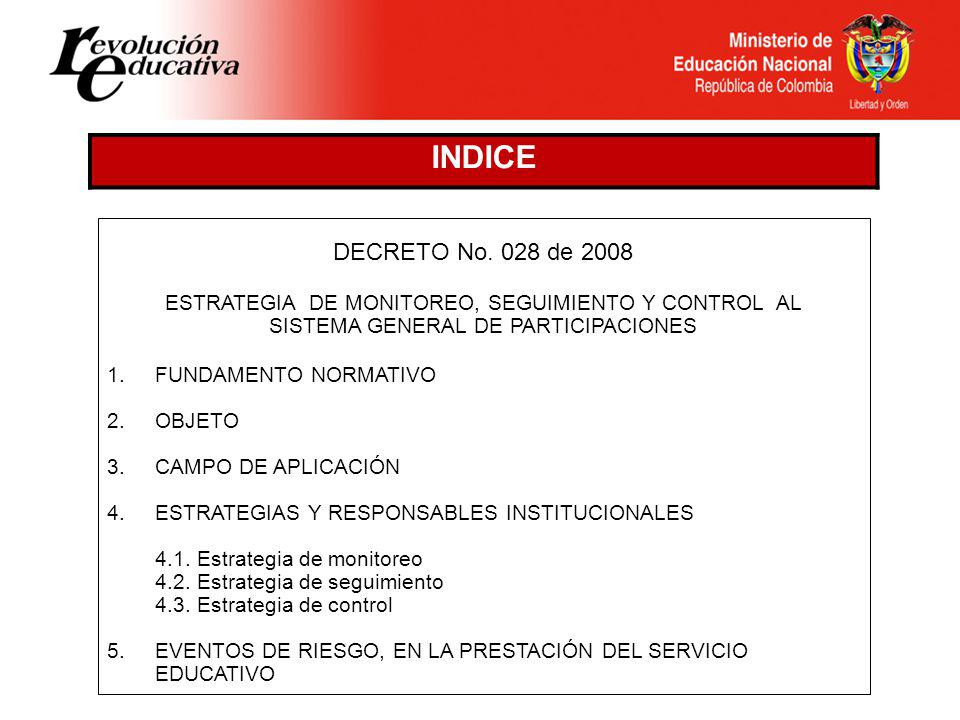INDICE DECRETO No. 028 de 2008. ESTRATEGIA DE MONITOREO, SEGUIMIENTO Y CONTROL AL. SISTEMA GENERAL DE PARTICIPACIONES.
