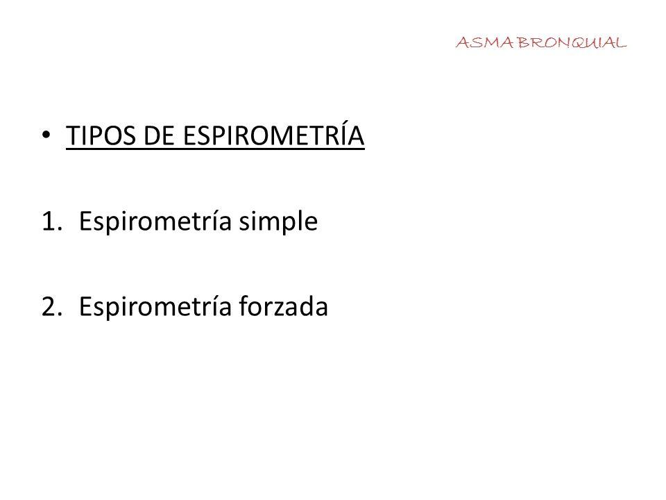 TIPOS DE ESPIROMETRÍA Espirometría simple Espirometría forzada
