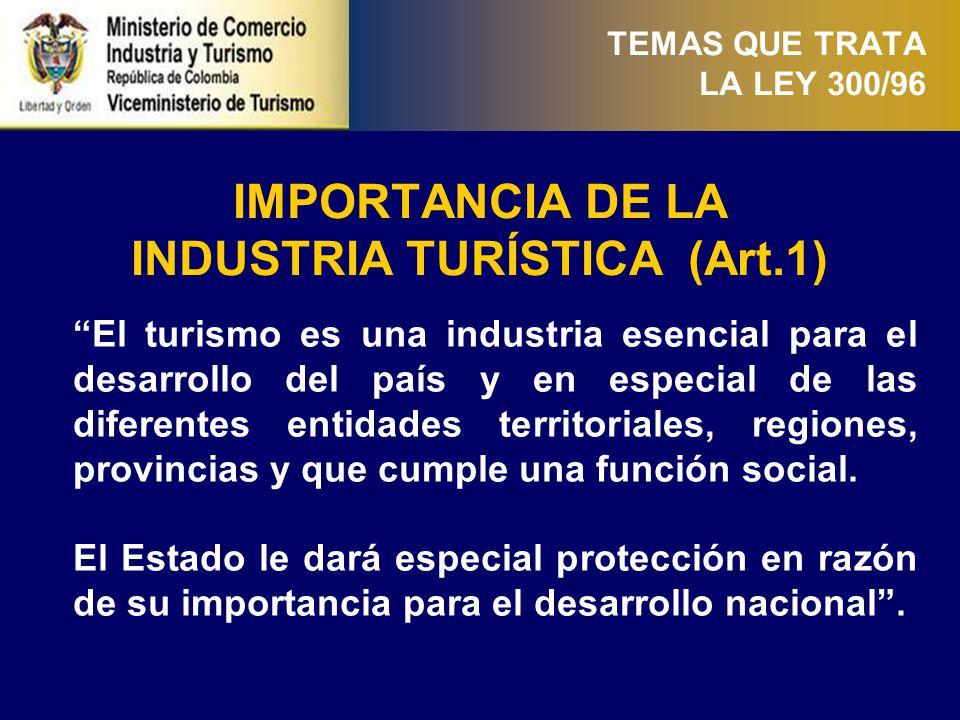 DE LA INDUSTRIA TURÍSTICA (Art. 2)