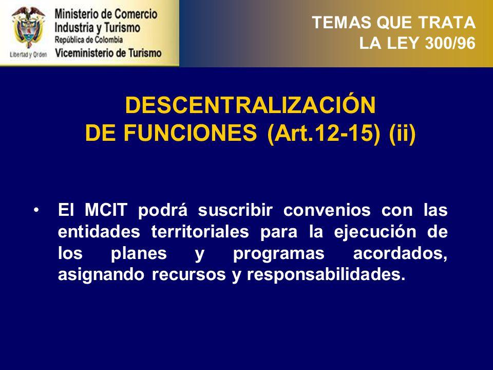 TEMAS QUE TRATA LA LEY 300/96 PLANEACIÓN DEL SECTOR. TURÍSTICO (Art.16 y 17)