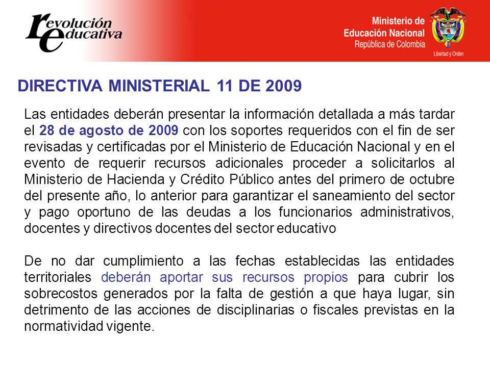 DIRECTIVA MINISTERIAL 11 DE 2009