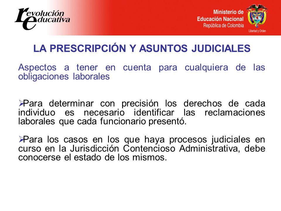 LA PRESCRIPCIÓN Y ASUNTOS JUDICIALES