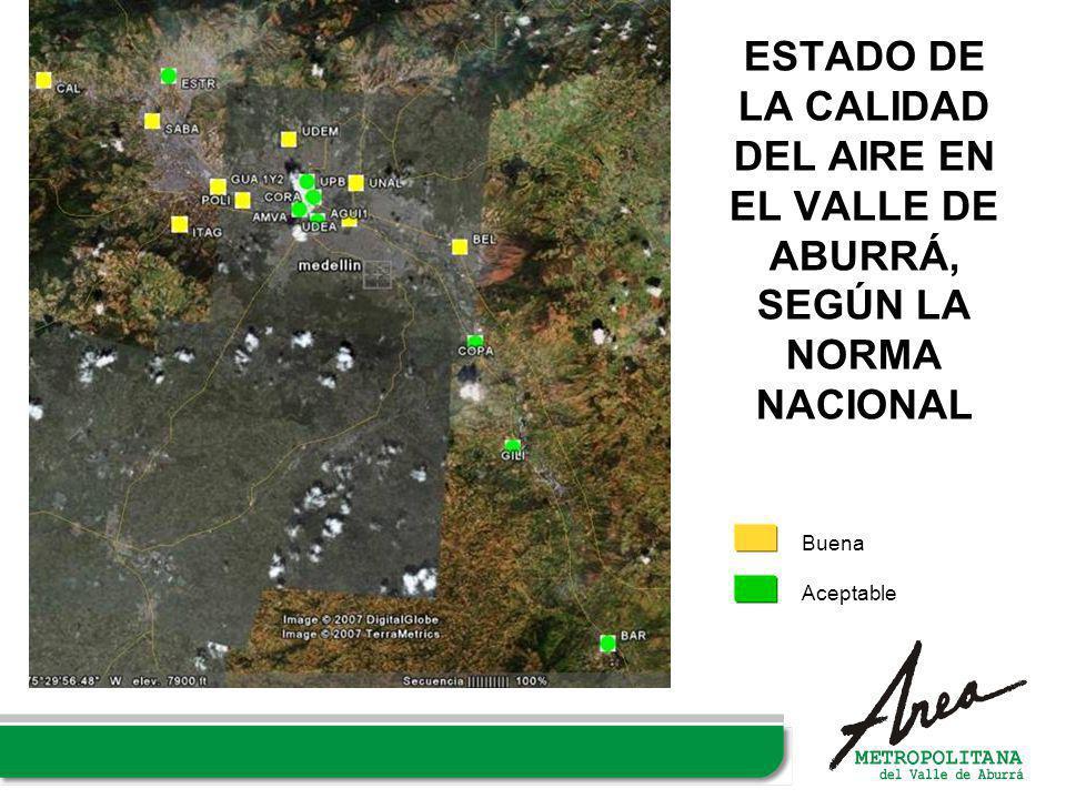 ESTADO DE LA CALIDAD DEL AIRE EN EL VALLE DE ABURRÁ, SEGÚN LA NORMA NACIONAL