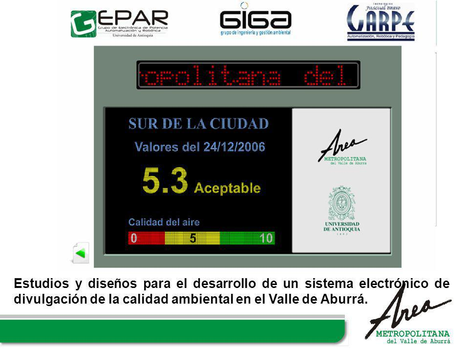 Estudios y diseños para el desarrollo de un sistema electrónico de divulgación de la calidad ambiental en el Valle de Aburrá.