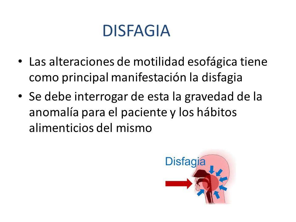DISFAGIA Las alteraciones de motilidad esofágica tiene como principal manifestación la disfagia.