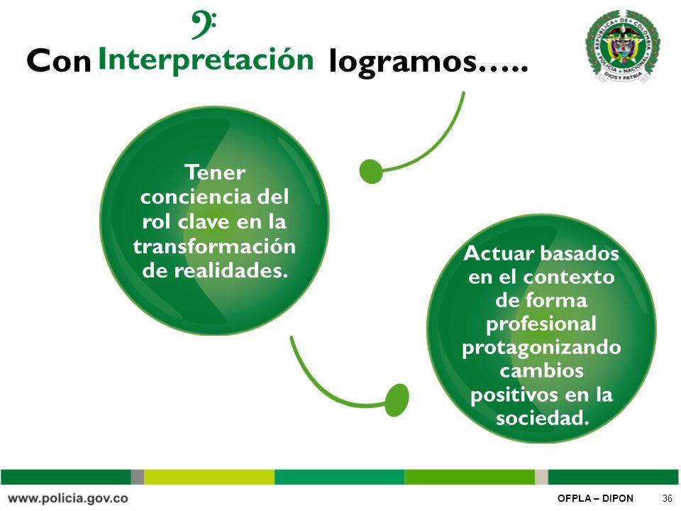 Tener conciencia del rol clave en la transformación de realidades.