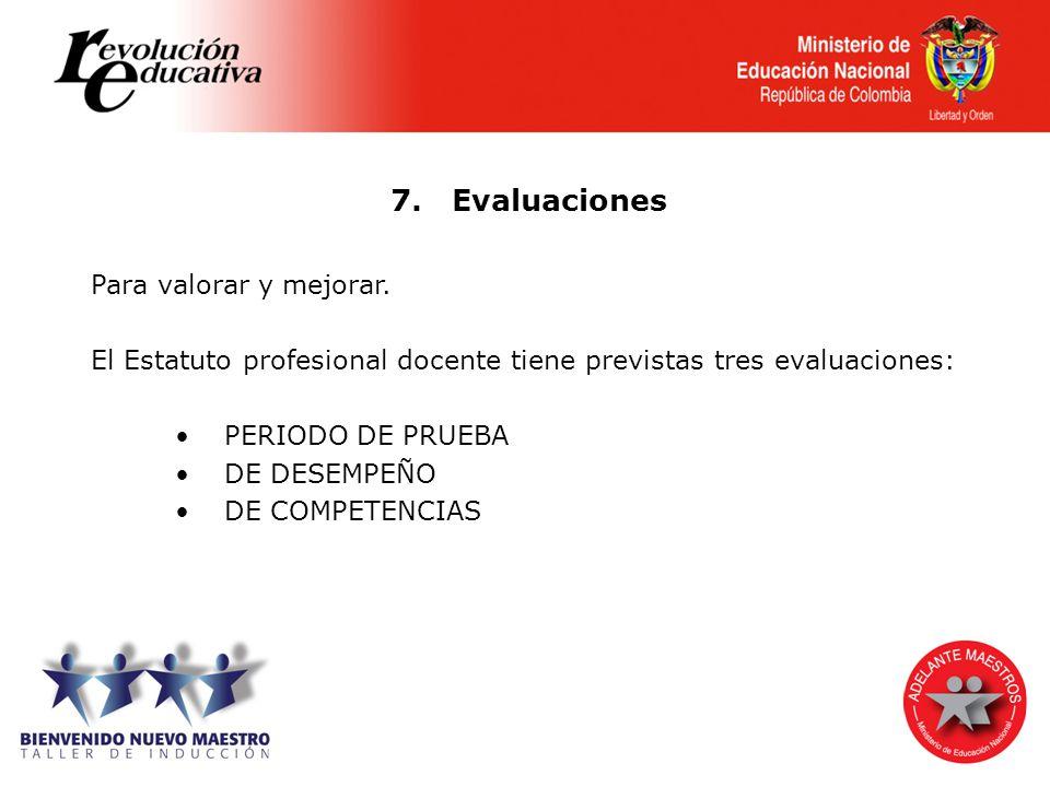 7. Evaluaciones Para valorar y mejorar.