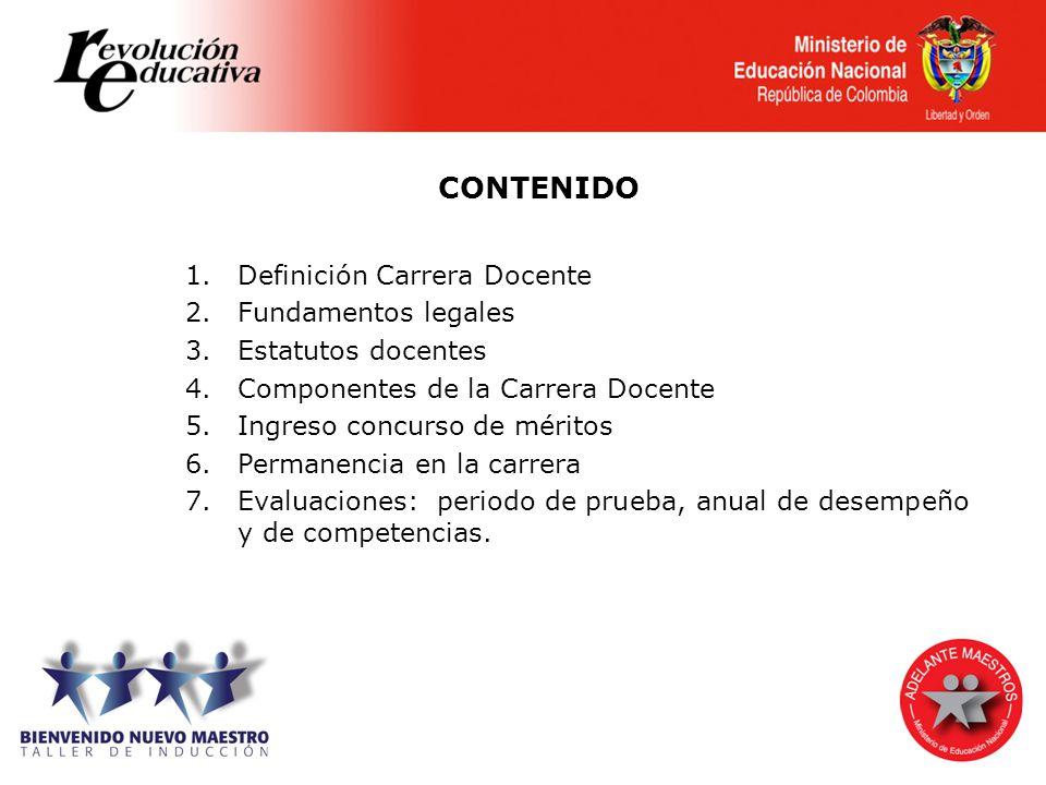 CONTENIDO Definición Carrera Docente Fundamentos legales