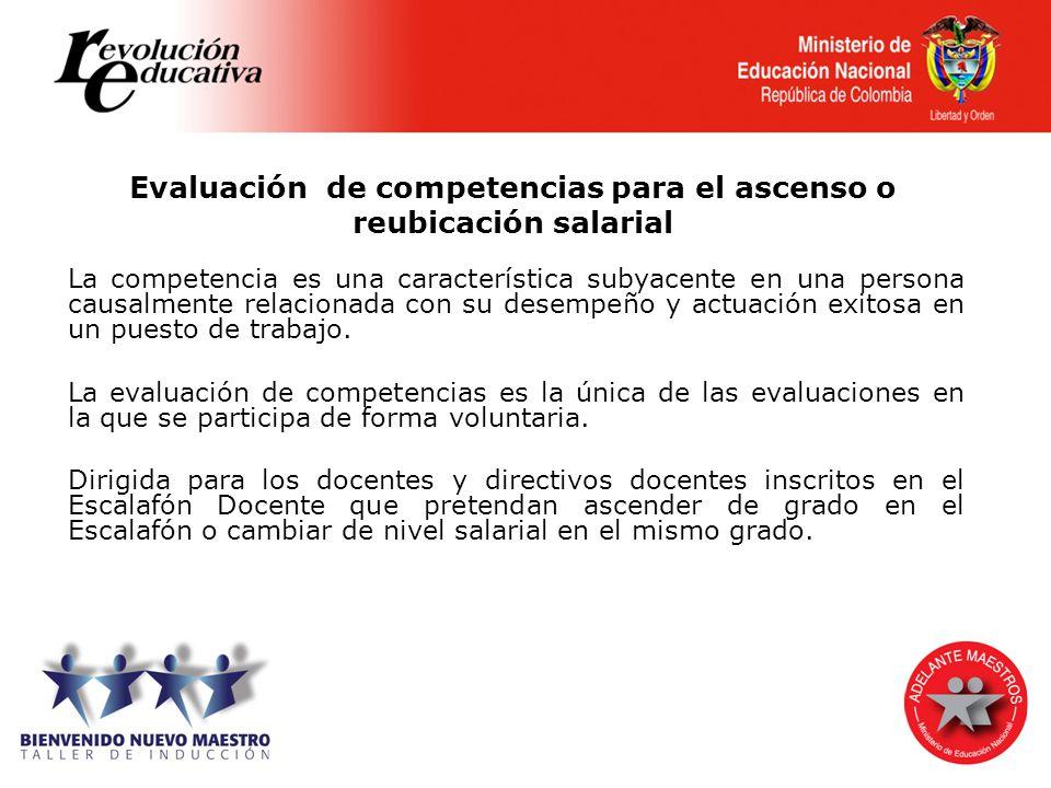 Evaluación de competencias para el ascenso o reubicación salarial