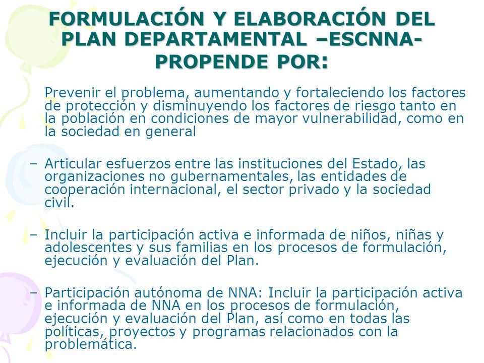 FORMULACIÓN Y ELABORACIÓN DEL PLAN DEPARTAMENTAL –ESCNNA- PROPENDE POR: