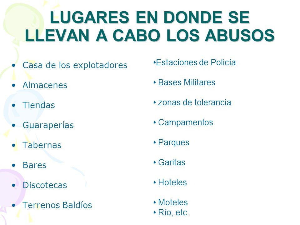 LUGARES EN DONDE SE LLEVAN A CABO LOS ABUSOS