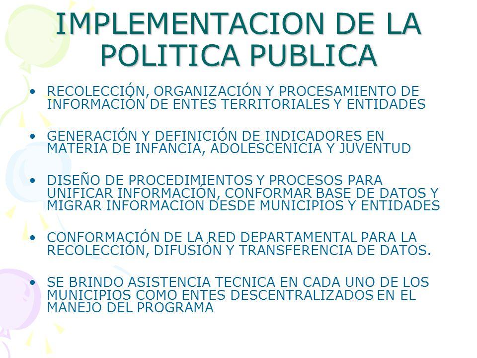 IMPLEMENTACION DE LA POLITICA PUBLICA
