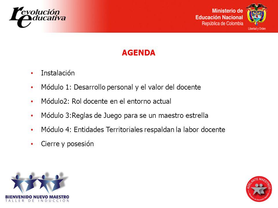 AGENDA Instalación. Módulo 1: Desarrollo personal y el valor del docente. Módulo2: Rol docente en el entorno actual.