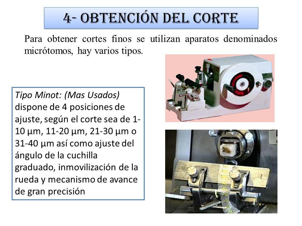 4- Obtención del cortePara obtener cortes finos se utilizan aparatos denominados micrótomos, hay varios tipos.