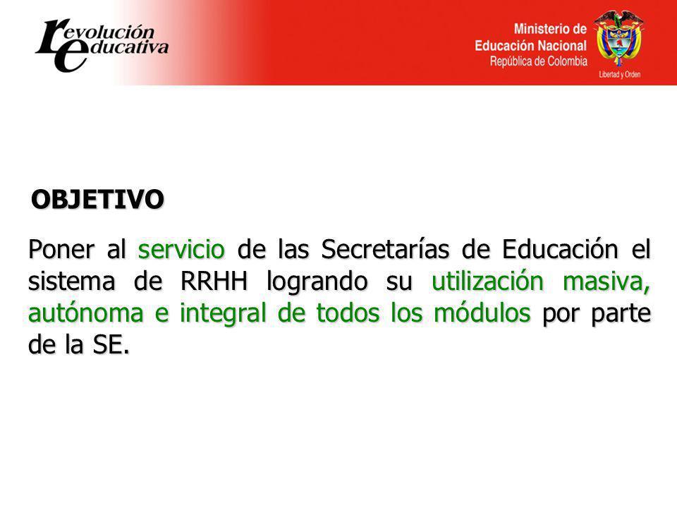 Poner al servicio de las Secretarías de Educación el sistema de RRHH logrando su utilización masiva, autónoma e integral de todos los módulos por parte de la SE.