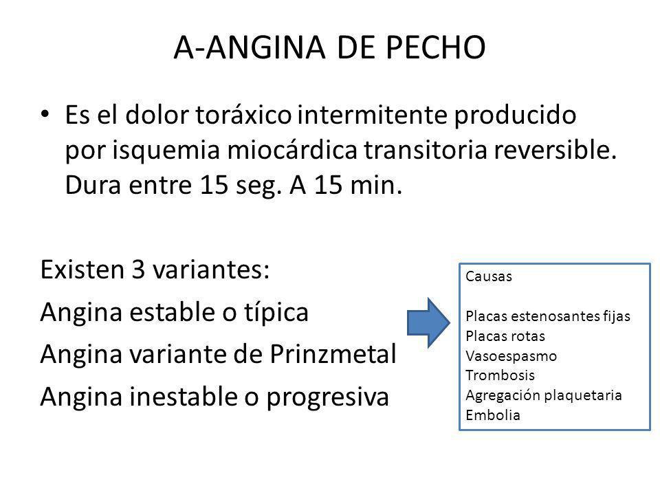 A-ANGINA DE PECHO Es el dolor toráxico intermitente producido por isquemia miocárdica transitoria reversible. Dura entre 15 seg. A 15 min.