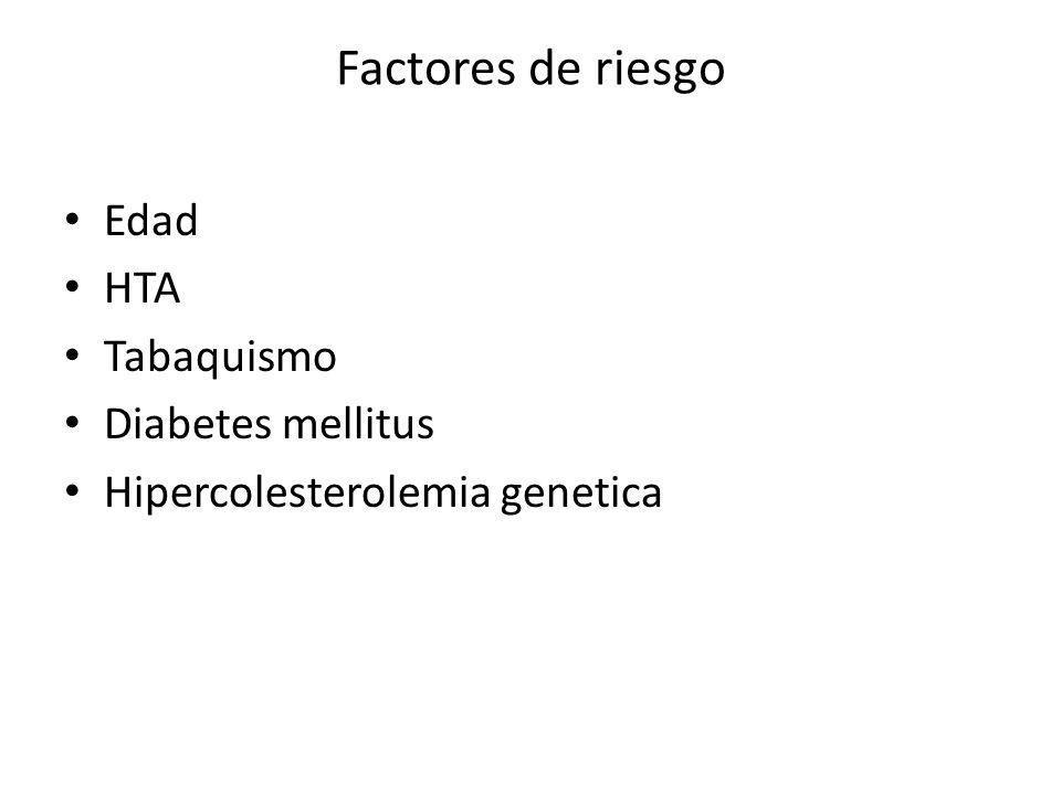 Factores de riesgo Edad HTA Tabaquismo Diabetes mellitus