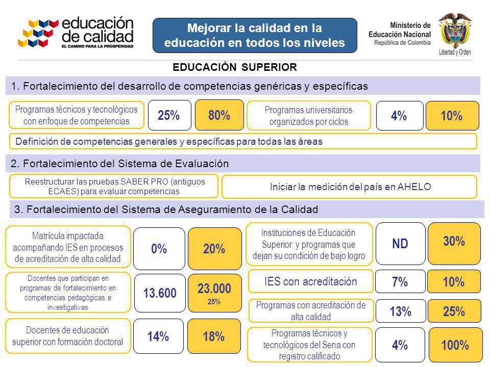Mejorar la calidad en la educación en todos los niveles
