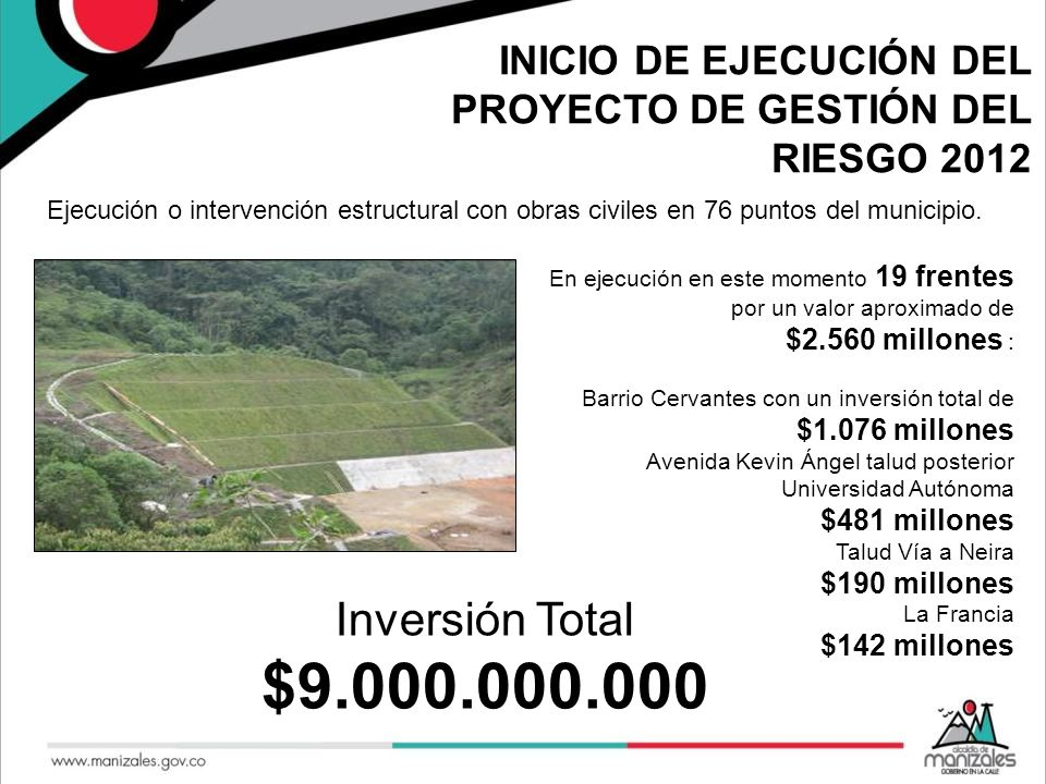 INICIO DE EJECUCIÓN DEL PROYECTO DE GESTIÓN DEL RIESGO 2012