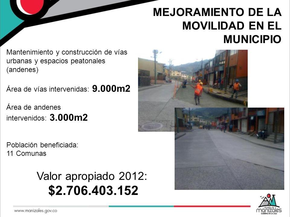 $2.706.403.152 MEJORAMIENTO DE LA MOVILIDAD EN EL MUNICIPIO